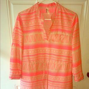 Tribal Print Neon Pink Tunic Dress